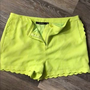 Polyester green scallop shorts